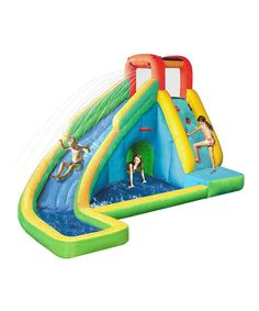 Designed to fit inside small backyards, this inflatable waterslide provides hours after hours of dynamic fun in the sun. Watch as kids speed up the climbing wall, zip down the slide and splash around in the tunnel or pool. Arriving with an included air blower, it's easy to inflate and bring pep to your party. Note: Intended for residential use only. Includes waterslide, air blower, stakes and carry bagWeight capacity: 100 lbs.Maximum occupancy: 2 kids13' W x7.5' H x 9' D420-denier Oxford…