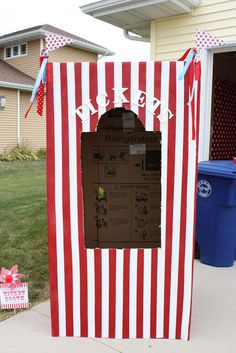 Refrigerator Box Ticket Booth http://buckets-of-grace.blogspot.com/2011/09/carnival-party-part-iv-refrigerator-box.html