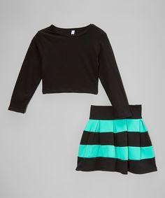American Kids Mint & Black Crop Top & High-Waist Skirt - Toddler & Girls | zulily