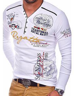 45b71516d [$18.69] Men's Daily Basic T-shirt - Letter Round Neck White L / Long Sleeve