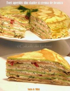 » Tort aperitiv din clatite si crema de branzaCulorile din Farfurie Waffles, Pancakes, Crepes, Quiche, Sandwiches, Tacos, Food And Drink, Healthy Recipes, Healthy Food