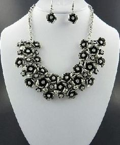 Antiqued Silver Flowers and Rhinestones Necklace and Earring Set