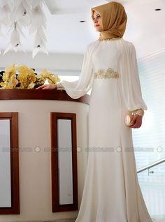 Swan Laced Evening - Ecru - Muslim Evening Dresses - Modanisa