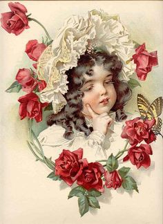 <3 Vintage girl with roses