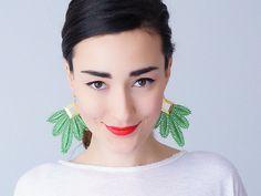 Green Earrings Statement Earrings Lace Earrings #jewelry #earrings @EtsyMktgTool http://etsy.me/2aTkl3W