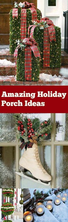 """Awesome holiday porch decor ideas for Christmas. Beautiful ways to """"Christmas"""" . Awesome holiday porch decor ideas for Christmas. Beautiful ways to """"Christmas"""" up your porch. Noel Christmas, Country Christmas, Christmas Projects, Winter Christmas, Christmas Lights, Christmas Wreaths, Outdoor Christmas Decorations, Christmas Porch Ideas, Christmas Bazaar Ideas"""