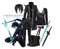 """""""Kirito inspired outfit - sword art online"""" by leopardwolf ❤ liked on Polyvore featuring Persona, Topshop, Yves Saint Laurent, Phase Eight, Reebok, Tome, SwordArtOnline and SAO"""