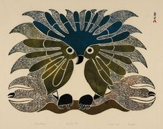 """by Kenojuak Ashevak   1969 Sadly, this very gifted artist died on January 8, 2013, at age 85. In her words: """"There is no word for art. We say it is to transfer something from the real to the unreal. I am an owl, and I am a happy owl. I like to make people happy and everything happy. I am the light of happiness and I am a dancing owl."""""""