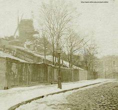 Une des plus anciennes photos de Montmartre sous la neige, 1886