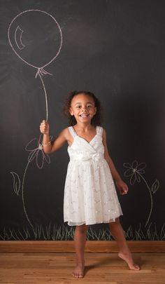 Adorable kid photo - chalkboard wall