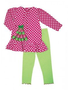 Cute Pink & Green Ribbon Christmas Tree Set available at Polka Dots & Patticakes