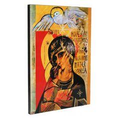Icono 'Virgen del Tercer Milenio', de Kiko Argüello, iniciador del Camino Neocatecumenal. Fabricado en madera canteada, pintada y barnizada. Medidas: 29,5x21cm Baseball Cards, Third, Drive Way, Wood