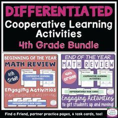Back to School Activities Grade Math Bundle with End of Year Activities Cooperative Learning Activities, Back To School Activities, Math Measurement, Math Vocabulary, Elementary Math, Upper Elementary, Math Patterns, Math Task Cards, Fourth Grade Math
