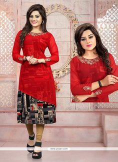 Exciting Embroidered Work Georgette Red Party Wear Kurti Model: YOKU577