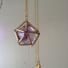 Statement Necklace - Amethyst in a Gold Cage - Handmade - RAW STONE - Bead