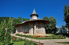 """Voronet Monastery, part of the UNESCO patrimony, is one of the Painted churches of Moldavia. It has become famous worldwide for its coloring """"Voronet blue"""" Visit Romania, Places Worth Visiting, Forest Illustration, Background Pictures, Hostel, Picture Wall, National Geographic, Shades Of Blue, Fresco"""