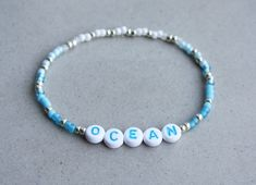 OCEAN Bracelet Mixed Beads I can make the bracelet to your size. Letter Bead Bracelets, Friendship Bracelets With Beads, Seed Bead Bracelets, Diy Beaded Bracelets, Jewelry Design Earrings, Cute Jewelry, Beaded Earrings, Beaded Jewelry, Summer Bracelets