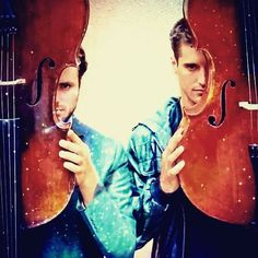 This is totally 2CELLOS to do a picture like this!! It's their personal cello silhouette logo and EVERYTHING!!!!!