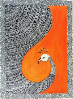 Kalamkari, orange part can be done with petals or painted leafs Doodle Art Drawing, Mandala Drawing, Art Drawings, Peacock Drawing, Peacock Painting, Madhubani Art, Madhubani Painting, Painting Art, Mandala Art Lesson