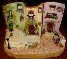 This is made from roof tiles! Imagine the possibilities! Clay Houses, Ceramic Houses, Clay Fairy House, Fairy Houses, Decoupage, Polymer Clay Miniatures, Dollhouse Miniatures, Diy Fashion Projects, Clay Fairies