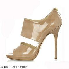 4ad7e88adba4 Fashion ol 11cm camel black japanned leather platform back zipper stiletto  ultra high heels open toe shoe US  74.37