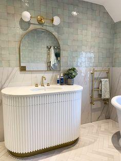 #bathroom #bathroomvanity #zellige #zelligetiles #tiles #bathroomdesign #spa #mint #aqua #white #brass #mirror #brasstaps #crosswater Spa Inspired Bathroom, Bathroom Inspo, Bathroom Designs, Bathroom Inspiration, Design Inspiration, Bath Towel Sets, Bath Towels, Rat House, Egyptian Cotton Towels