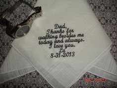 Personalized Wedding Handkerchief gift Hankie embroidered Mother of the Bride, Father of the Bride / Groom Gifts