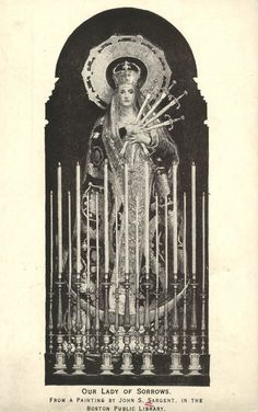 Our Lady of Sorrows. From a painting by John S. Sargent in the Boston Public Library. Postcard, United States of America.