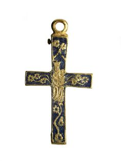 Back of a blue enamel and gold crucifix: 15th century