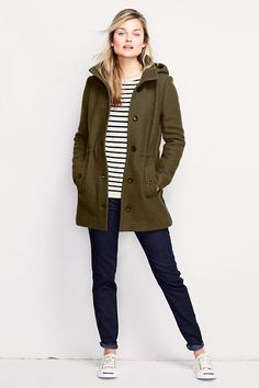 Women's Boiled Wool Hooded Parka from Lands' End | Natural Grace ...