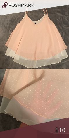 0aa106b2c1975 Layered tank Super cute light pink and white polka dotted tank. Sheer