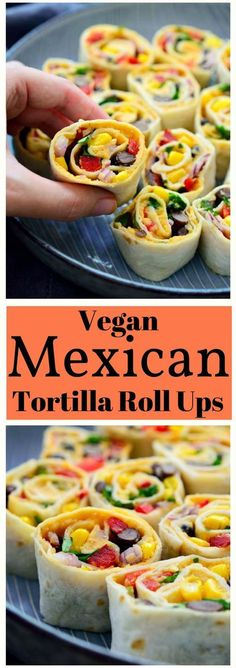 These Mexican tortilla roll ups are vegan and make a great easy snack or appetizer. They're super quick to make and perfect to throw together before having guests over. via @cilantroandcitr