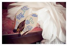 Bridesmaids sign wedding shoes..cute idea!