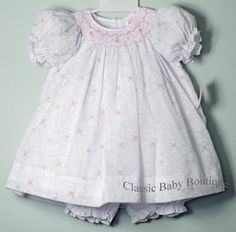 Petit Ami White Floral Overlay Smocked Girls Bishop Dress 3 6 9 Months