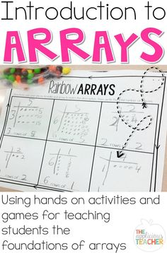 Introducing arrays is a perfect way to set students up for success with multiplication and division. Great post outlining how to build a thorough understanding of this simple mathematical concept in second or third grade! Multiplication Activities, Math Activities, Numeracy, Math Worksheets, Math Subtraction, Multiplication And Division, Second Grade Math, 4th Grade Math, Grade 3