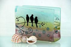 Fused Glass napkin holder silhouette birds  by virtulyglass, $40.00