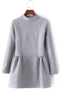 Fashionable Long Sleeve Stand Collar Suede A-Line Dress For Women