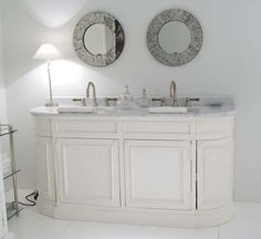 Flamant Bathroom Vanity Dunbar Double White Carrara Marble Top Porcelain Sink Copper Strawberry