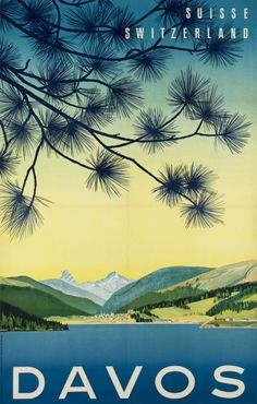 Vintage travel poster for the popular holiday destination Davos. The poster was created in 1949 by Kern - Bosshard.