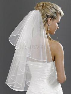 Brautschleier mit Satinband aus Softtüll 70cm