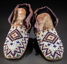 Sioux+Quillwork | American Indian Art:Beadwork and Quillwork, A PAIR OF SIOUX BEADED ...