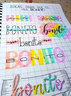 19 creative ideas for beautiful school notes that will make you want to study - Beautiful notes in notebooks to study at school; creative and colorful letter title - Bullet Journal School, Bullet Journal Banner, Bullet Journal Notebook, Journal Fonts, Bullet Journal Lettering Ideas, Bullet Journal Ideas Pages, Bullet Journal Inspiration, Hand Lettering Alphabet, Bullet Journal Aesthetic