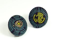 Button Earrings / Vintage Style Earrings / fabric covered earrings - handcrafted