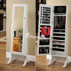 Espejo Joyero XXL, con 2 funciones en 1, es espejo y armario joyero, ideal para baño y dormitorio