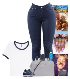 """"" by kennisha84 ❤ liked on Polyvore featuring H&M, Valextra, Happy Plugs, Tzumi, M.A.C, MICHAEL Michael Kors and NIKE"