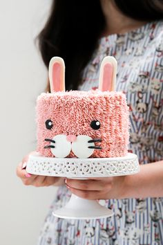 Dreamy vanilla cream cake with a strawberry compote and vanilla buttercream to celebrate Coco Cake Land's new book! Bunny Birthday Cake, Toddler Birthday Cakes, Strawberry Birthday Cake, Easter Bunny Cake, Bunny Party, Bunny Cakes, Pretty Cakes, Cute Cakes, Cake Land