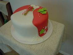 Hot pink and lime green shower By karmarie on CakeCentral.com