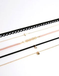 Bershka Spain - Set of 5 shiny cross chokers