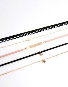 Conjunto 5 colares gargantilha cruz e brilhante - Bijuteria - Bershka Portugal