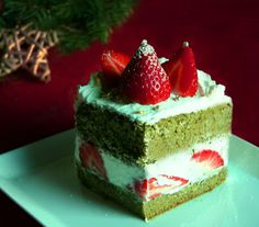 COOKING WITH JAPANESE GREEN TEA: X'mas Matcha Strawberry Cake